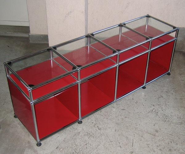 USM Haller Lowboard mit Glasablage, rubinrot