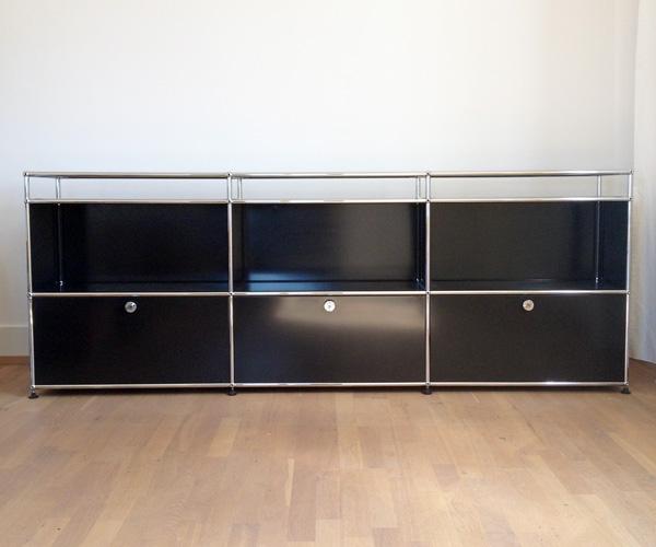Occasion USM Sideboard mit Klappen und Glasabdeckung, schwarz